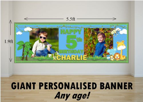 Personalised GIANT Large Girls Boys Jungle Animals Happy Birthday PHOTO Poster Banner N16 ANY AGE